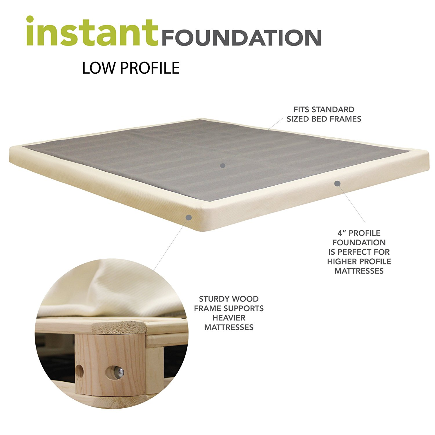 Classic Brands 4 Inch Instant Foundation Low Profile Foundation or Box Spring Replacement, Cal King