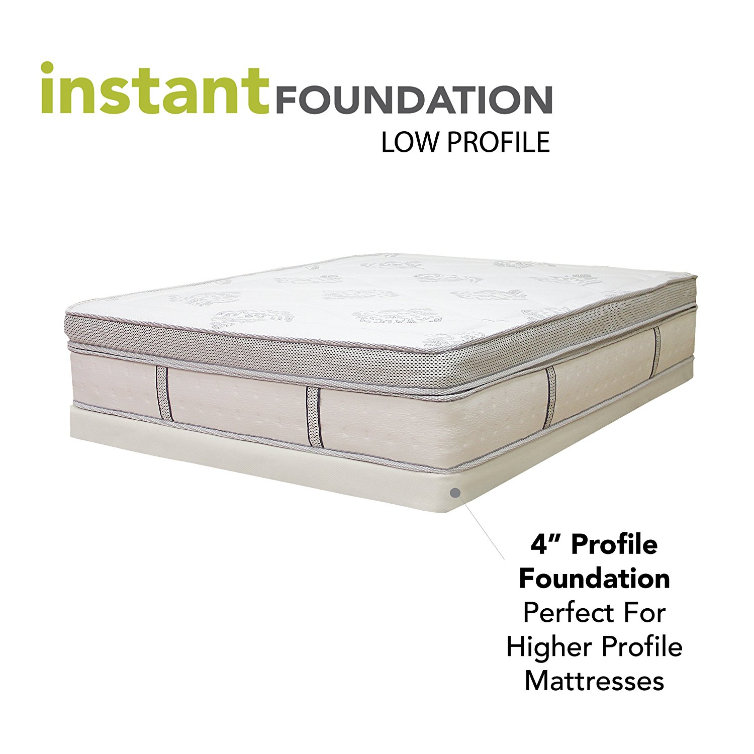 Classic Brands 4 Inch Instant Foundation Low Profile Foundation or Box Spring Replacement, Twin