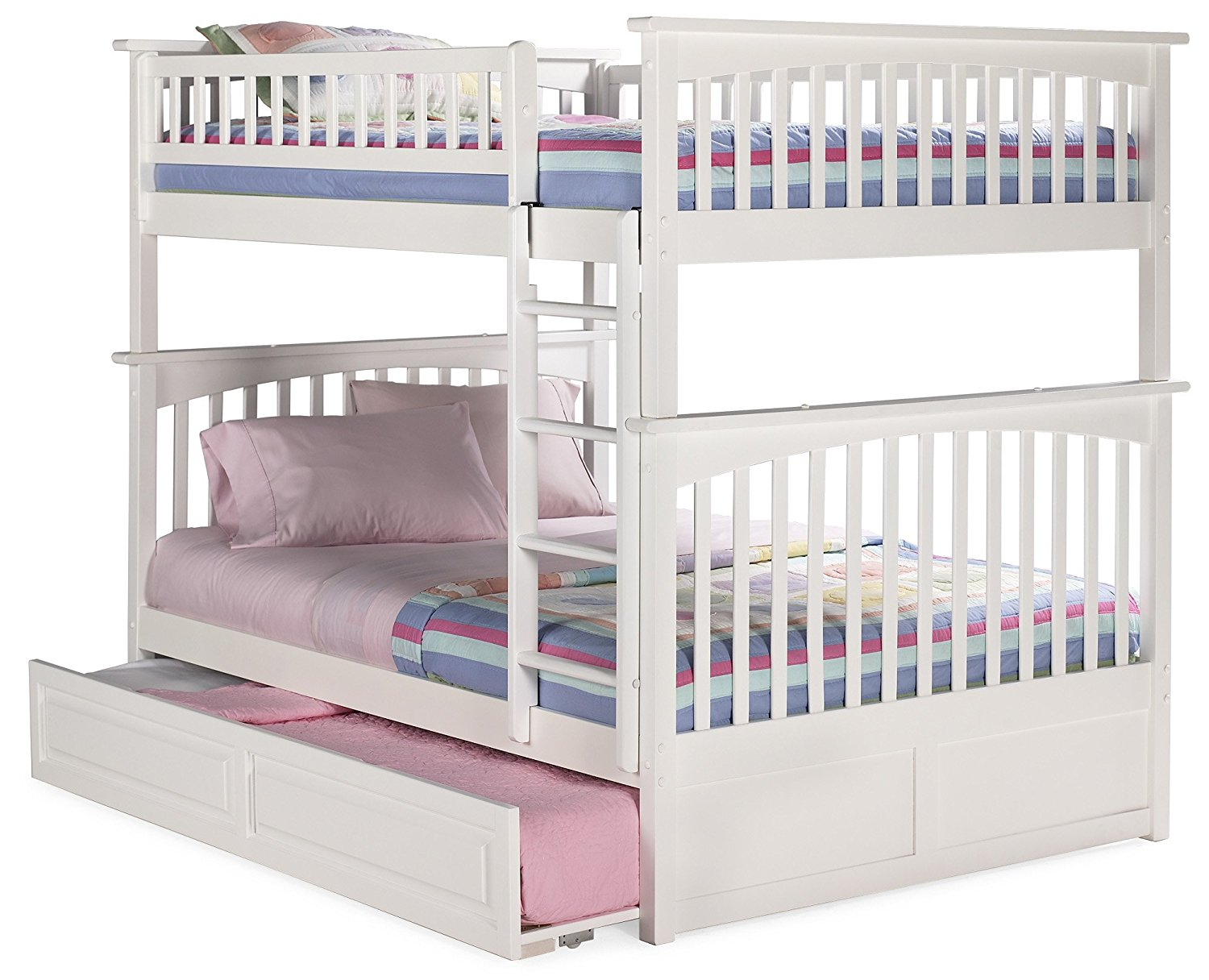 Columbia Bunk Bed with Trundle Bed, Full Over Full, White