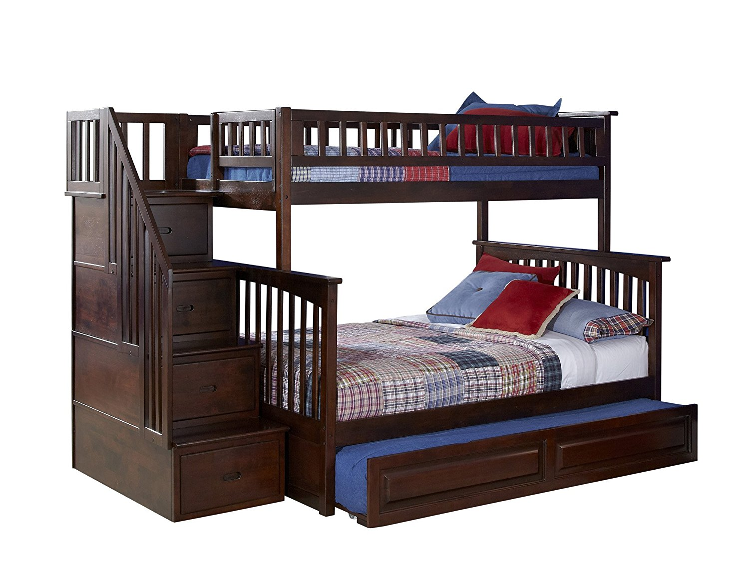 Columbia Staircase Bunk Bed with Trundle Bed, Twin Over Full, Antique Walnut