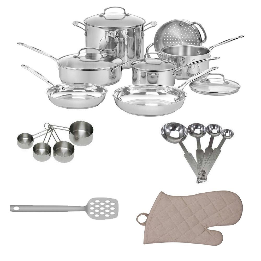 Cuisinart 77-11G Chef's Classic Stainless 11-Piece Cookware Set + Kitchen Textiles 3-Pack + Slotted Turner Aster + Heavy-Duty Stainless Measuring Cup Set + Stainless Steel Measuring Spoon Set