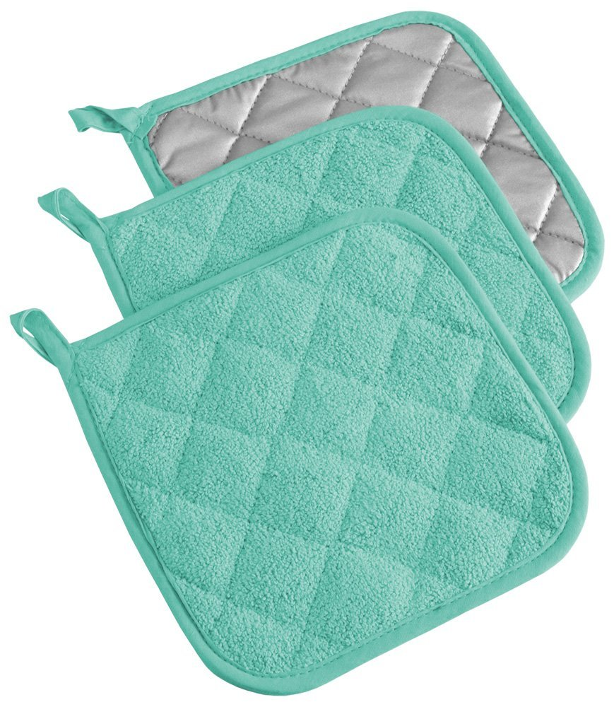 "DII 100% Cotton, Machine Washable, Heat Resistant, Everyday Kitchen Basic, Terry Pot Holder, 7 x 7"", Set of 3, Aqua"