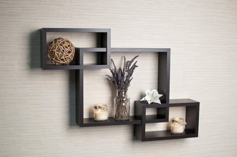 Danya B. Intersecting Boxes Espresso Color Wall Shelf