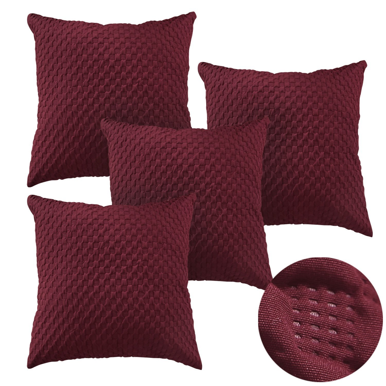 Deconovo Decorative Pillows Super Soft Square Embossd Throw Cushion Covers Pillow Covers Decorative 18 x 18 Inch Date Red Set of 4