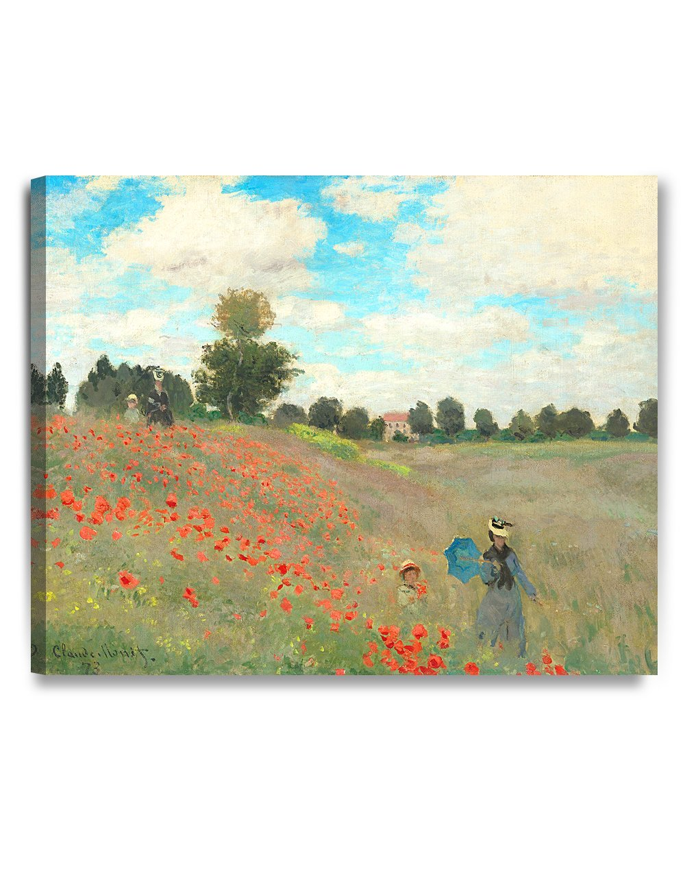 DecorArts - Poppies at Argenteuil, 1873, Claude Monet Art Reproduction. Giclee Canvas Prints Wall Art for Home Decor 30x24""