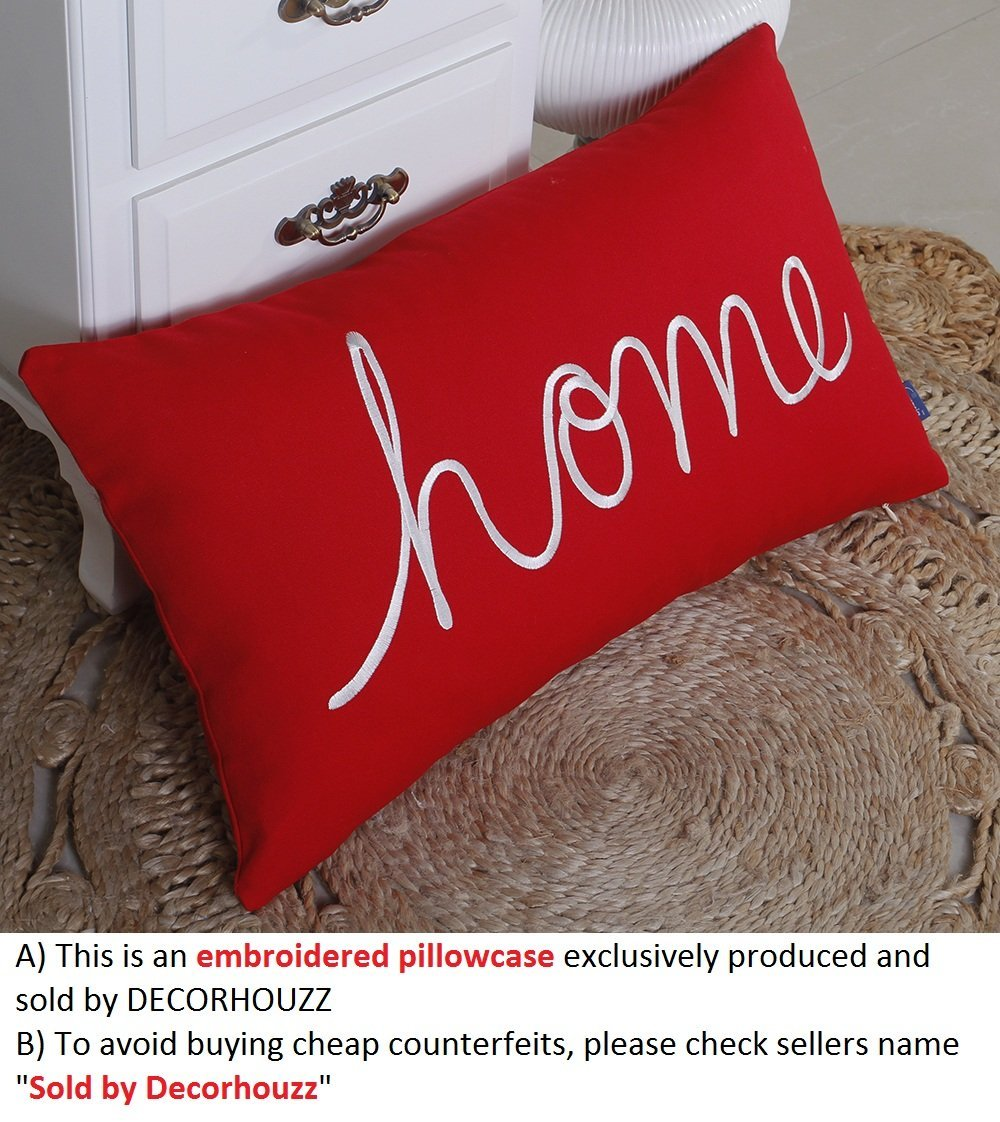 "DecorHouzz Home Sentiment Pillow Cover Embroidered Pillow Cases Throw Pillow Decorative Pillow Wedding Birthday Anniversary Gift 14""x24"" (Red)"