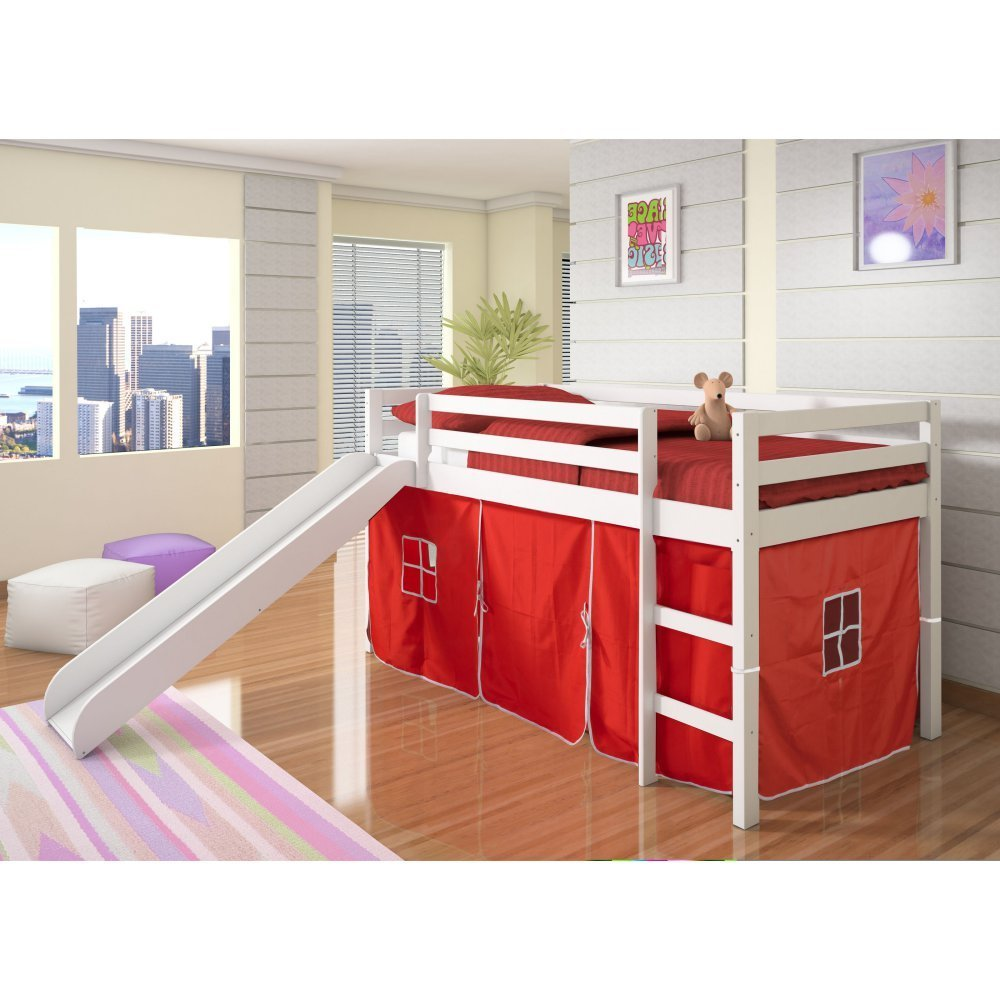 Donco Kids Twin Loft Tent Bed with Slide - White with Red Tent