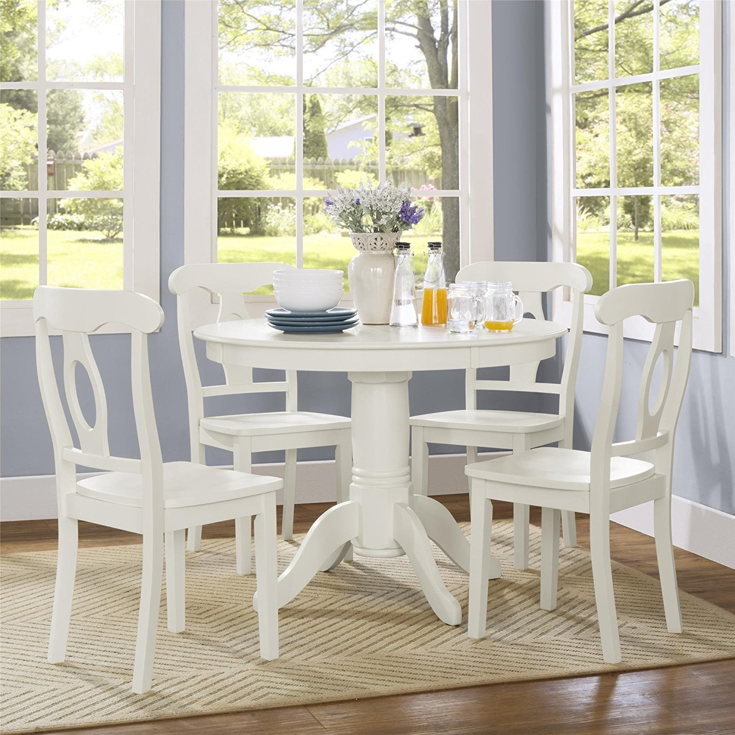 Dorel Living Aubrey 5 Piece Traditional Height Pedestal Dining Set, Creamy White