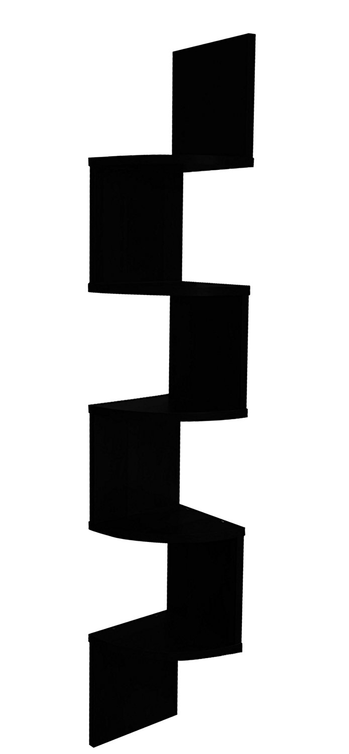 EWEI'S HomeWares 5 Tier Large Corner Wall Mount Shelf, Black