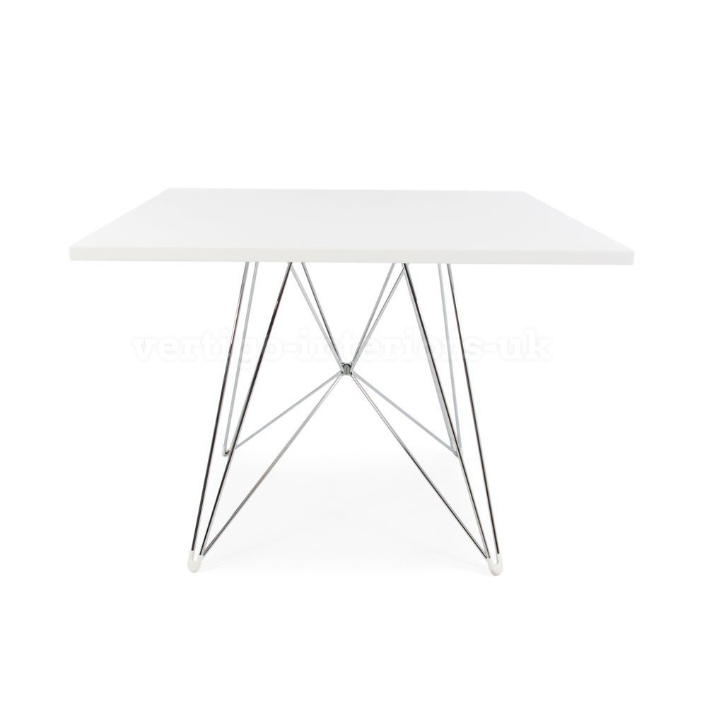 Eames Style Eiffel DSR Leg Dining Table - Square White Top