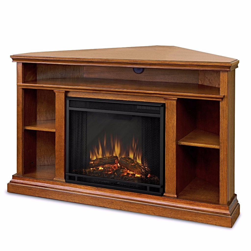 Electric Fireplace TV Stand From Solid Wood With Cable Box And Fireplace Mantel With Remote Control plus FREE GIFT (Oak)