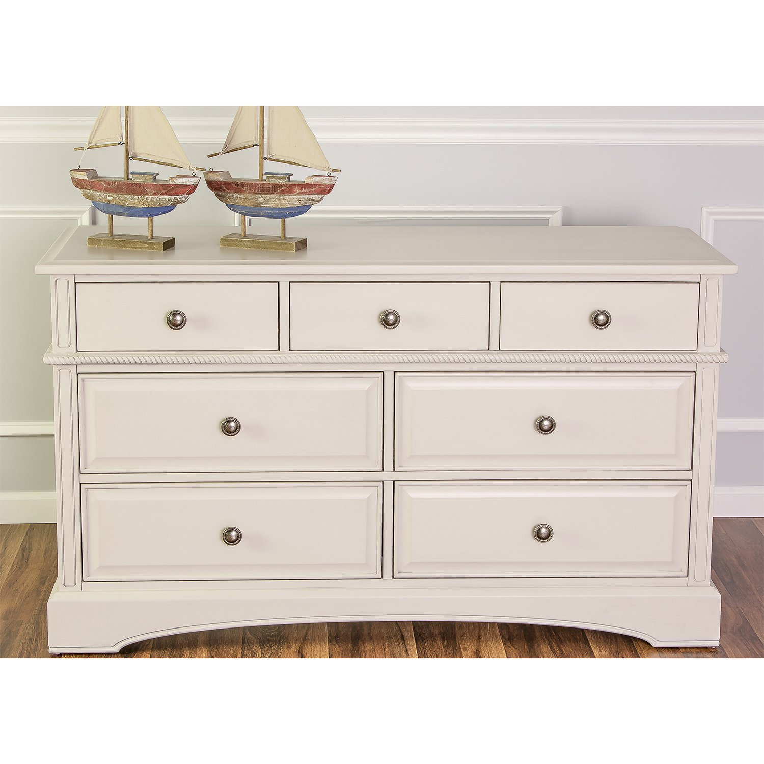 Evolur Double - Drawers Dresser in Antique White