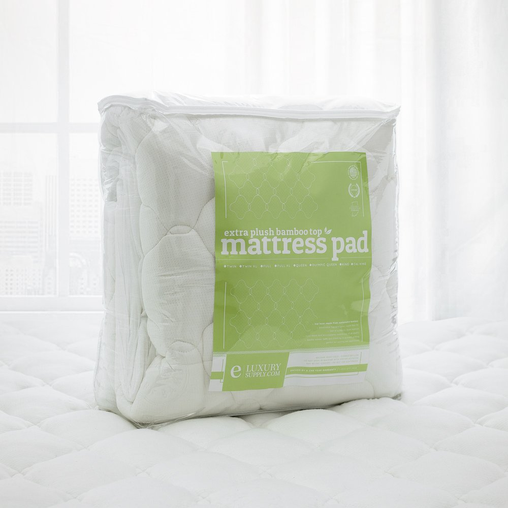 ExceptionalSheets Bamboo Extra Plush Cooling King Mattress Pad with Fitted Skirt