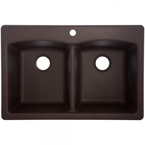 Franke EDDB33229-1 Double Bowl Sink Granite 9-Inch Deep, Mocha
