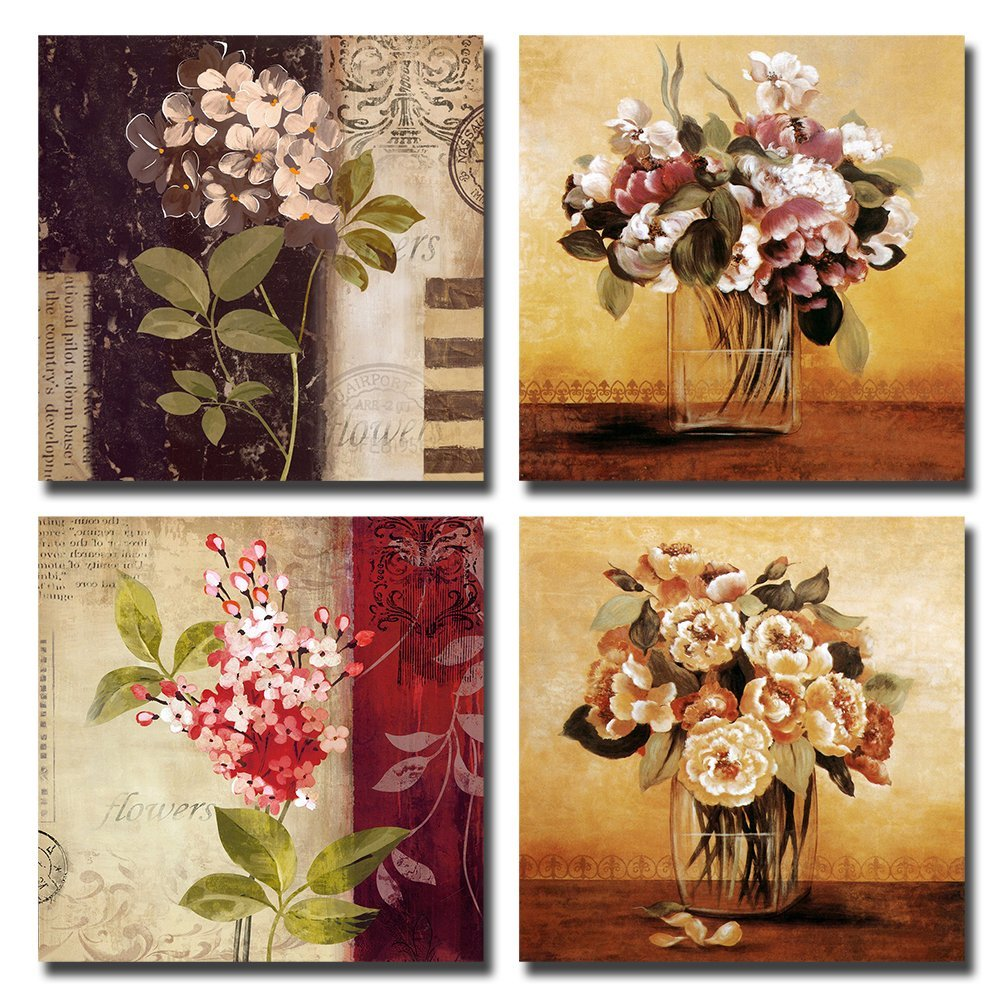 Gardenia Art 12-Inch-by-12-Inch Retro Flowers Framed Stretched Canvas Wall Art