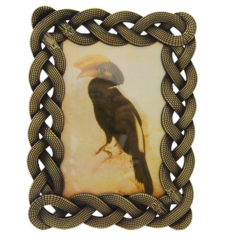 Gift Garden 4 by 6 -Inch Antique Picture Frame with Metal Retro Entwined Edging for Photo Display 4x6