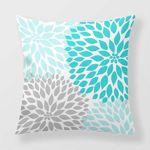 HLPPC Decorative Throw Pillow Cover Turquoise Blue Gray Dahlia Mod Decor Sofa 18 x 18 Inches