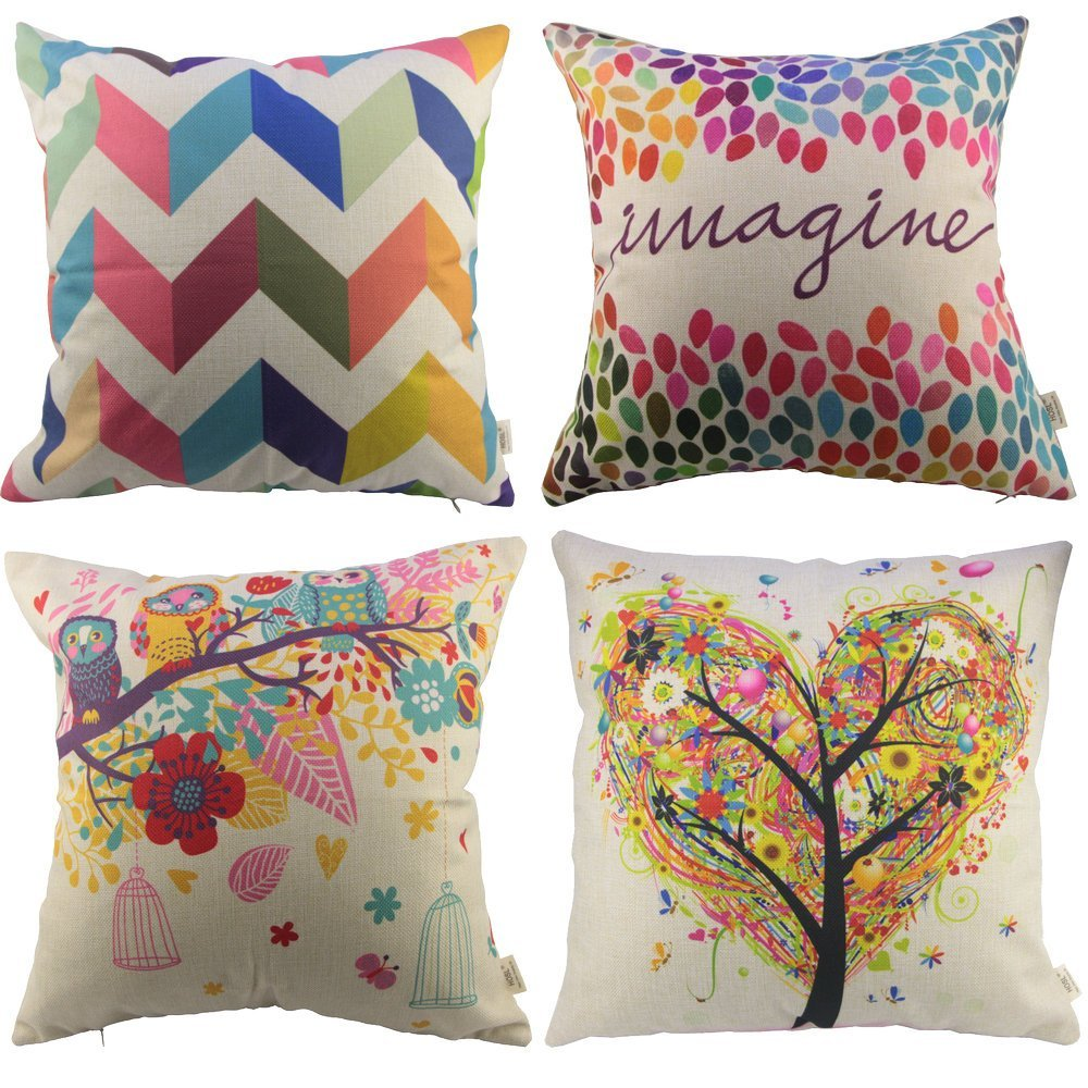 HOSL P110 4-Pack Square Decorative Throw Pillow Case Cushion Cover ( 1x Owls with Birdcage, 1x Love Tree, 1x Multicolor Zig Zag Chevron, 1x Colorful Imagine )
