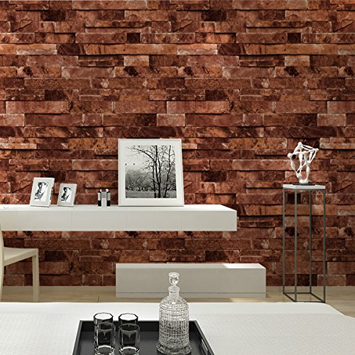 "HaokHome 91304 Modern Faux Brick Stone Textured Wallpaper Roll Red Multi 3D Brick Blocks Home Room Decoration 20.8"" x 393.7"""