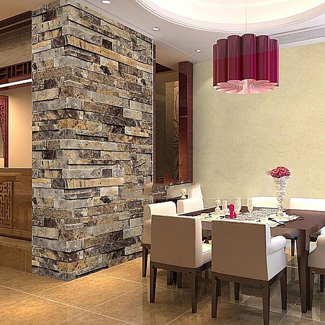 Homdox 3D Brick Wallpaper, Textured Removable and Waterproof for Home Design and Room Decoration, Super Large Size 10m x 0.53m / 393.7'' x 21''