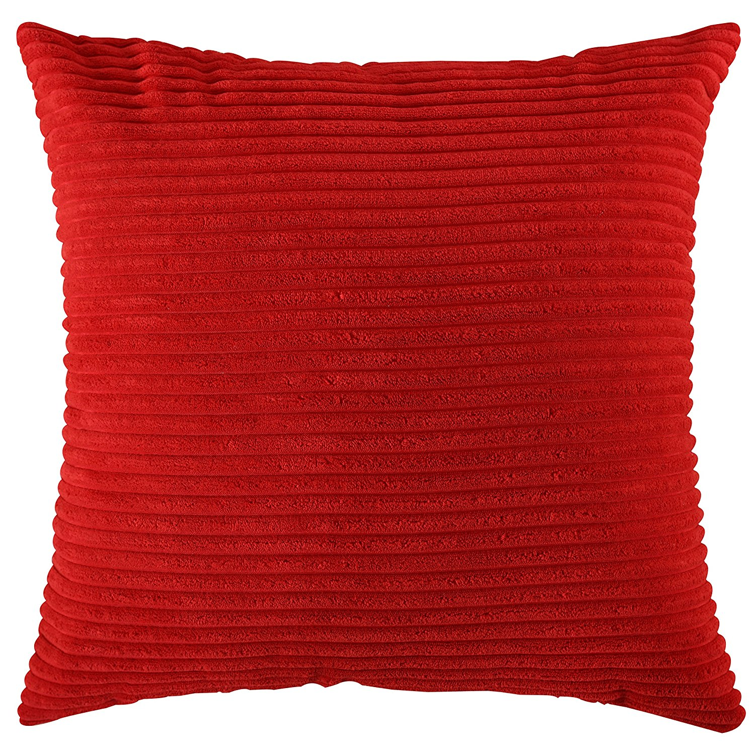 Home Brilliant Spring Decoration Solid Red Soft Striped Velvet Corduroy Plush Throw Cushion Cover for Square Pillow (Red, 18 x 18 inch, 45cm)