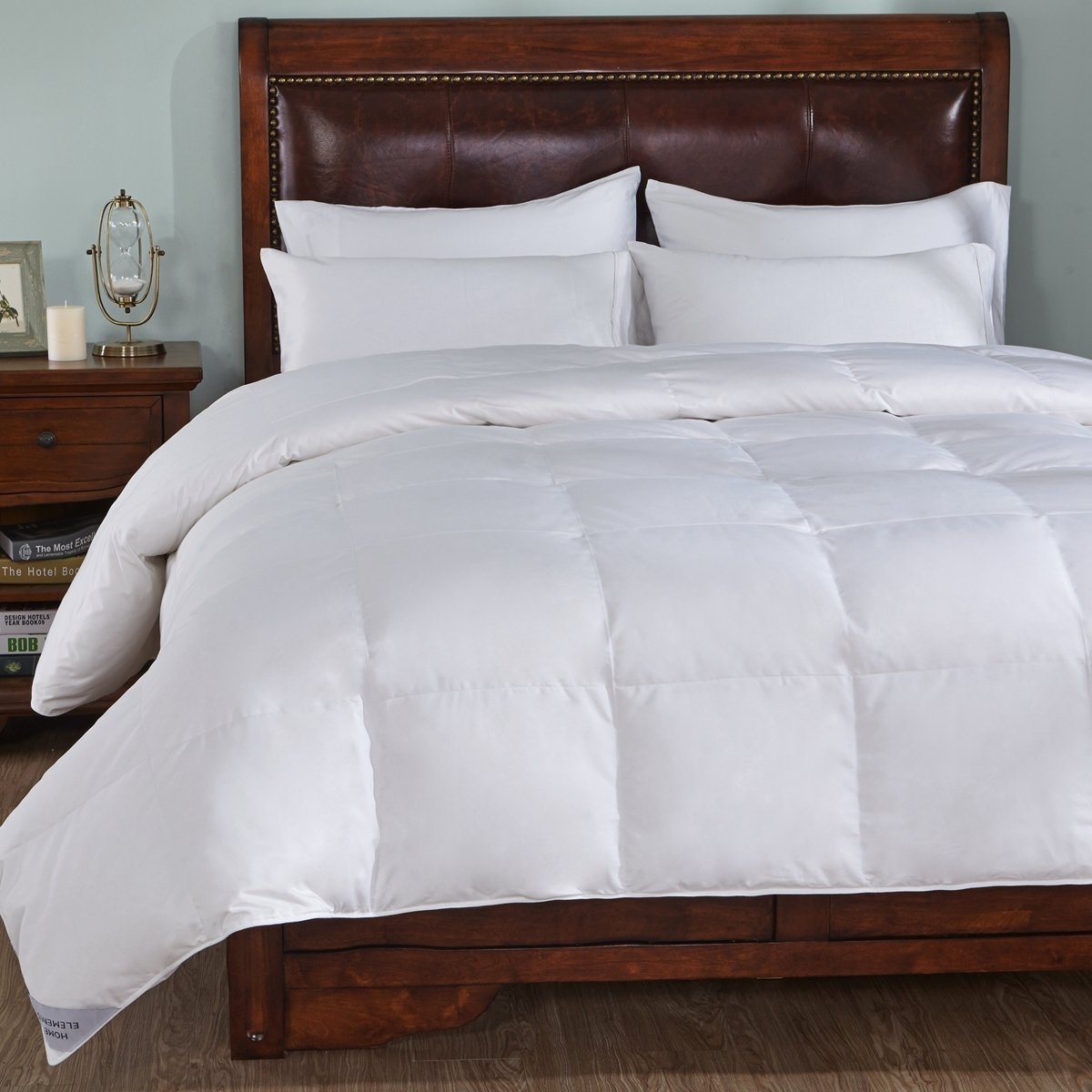 Home Element 800 Thread Count Medium Warmth White Goose Down Comforter 600 Fill Power-Full/Queen Size, Stripe White
