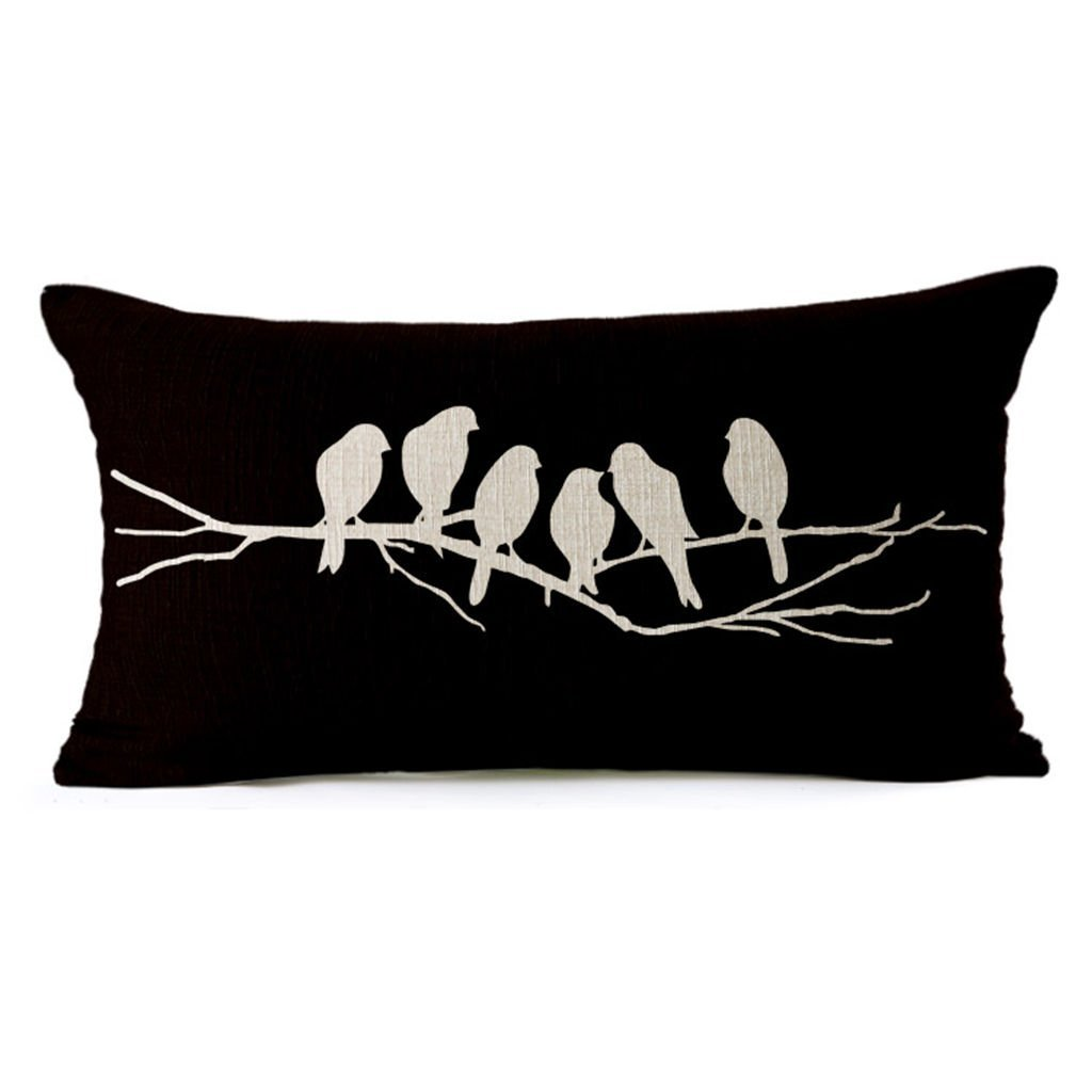 HomeTaste Country Rustic Birds Decorative Thick Cotton Linen Lumbar Pillow / Throw Pillow Cover for Bed Sofa Couch Black 12x20