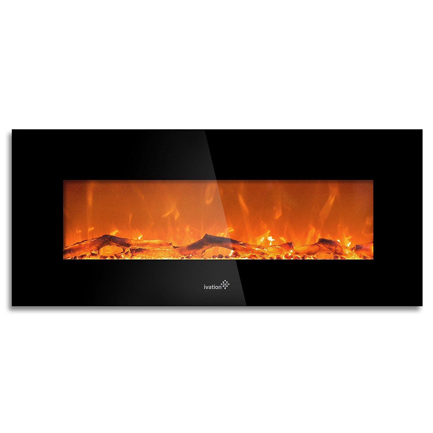"Ivation 50"" Wall Mounted Glass Electric Fireplace w/ Built In 1500-Watt Heater"