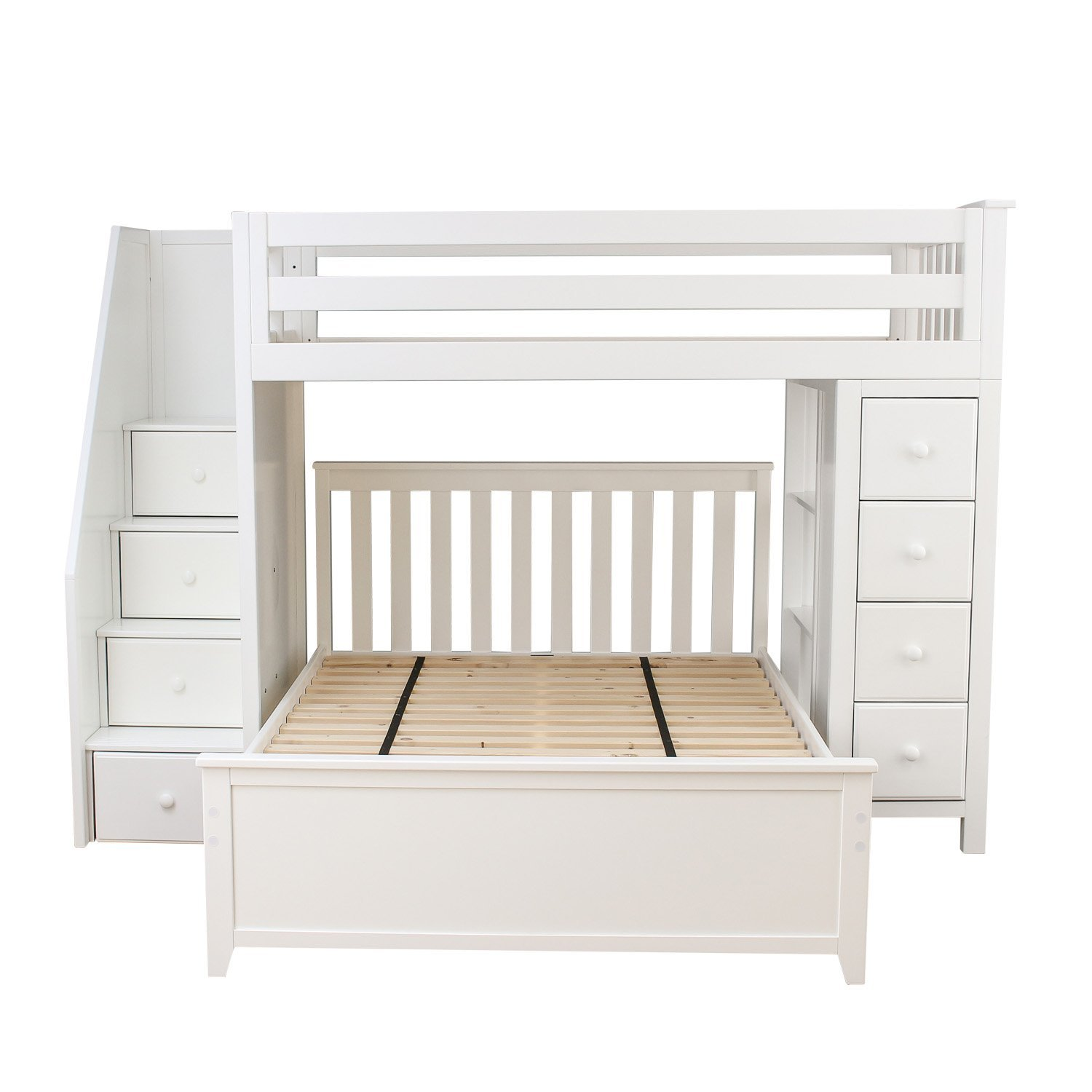 Jackpot! Deluxe All-in-One Solid Hardwood Twin-Size Storage Loft Bed with Staircase over Full-Size Bed, White