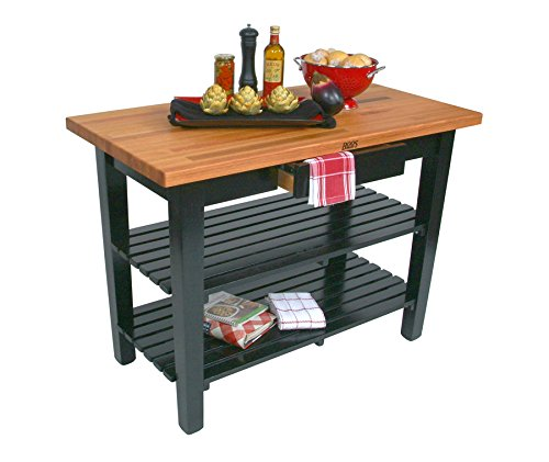 "John Boos OC Oak Country Table - Blended Butcher Block Top, 48""W x 30""D - No Shelf, Cherry Stained Base"