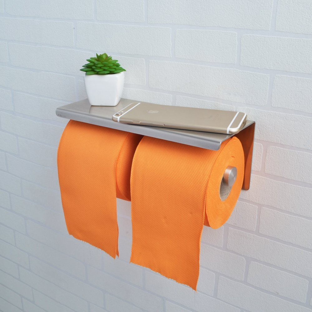 KES SUS 304 Stainless Steel Double Roll Toilet Paper Holder Storage Bathroom Kitchen Dual Paper Towel Dispenser Tissue Roll Hanger Wall Mount, Brushed Finish, BPH201S2-2