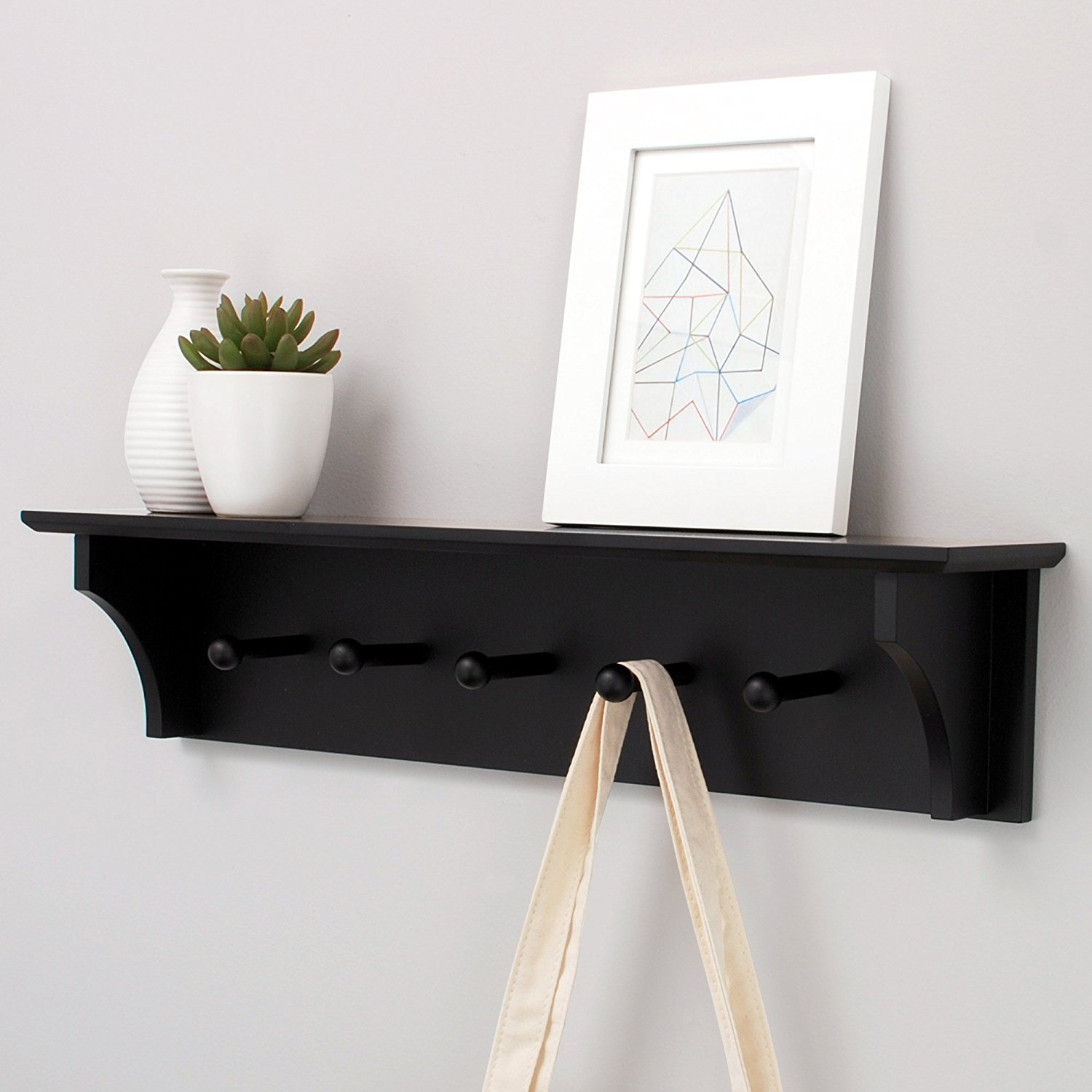"Kiera Grace Foster Wall Shelf with 5 Pegs, 24"" by 5.5"", Black"