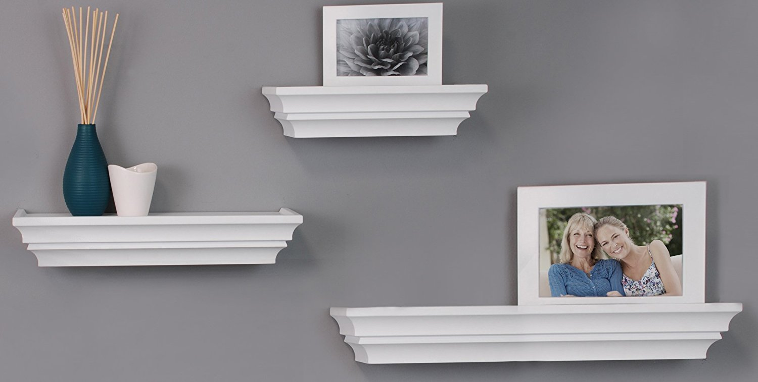 Kiera Grace Madison Contoured Wall Ledges, 12 Inch, 16 Inch, 24 Inch, White, Set of 3