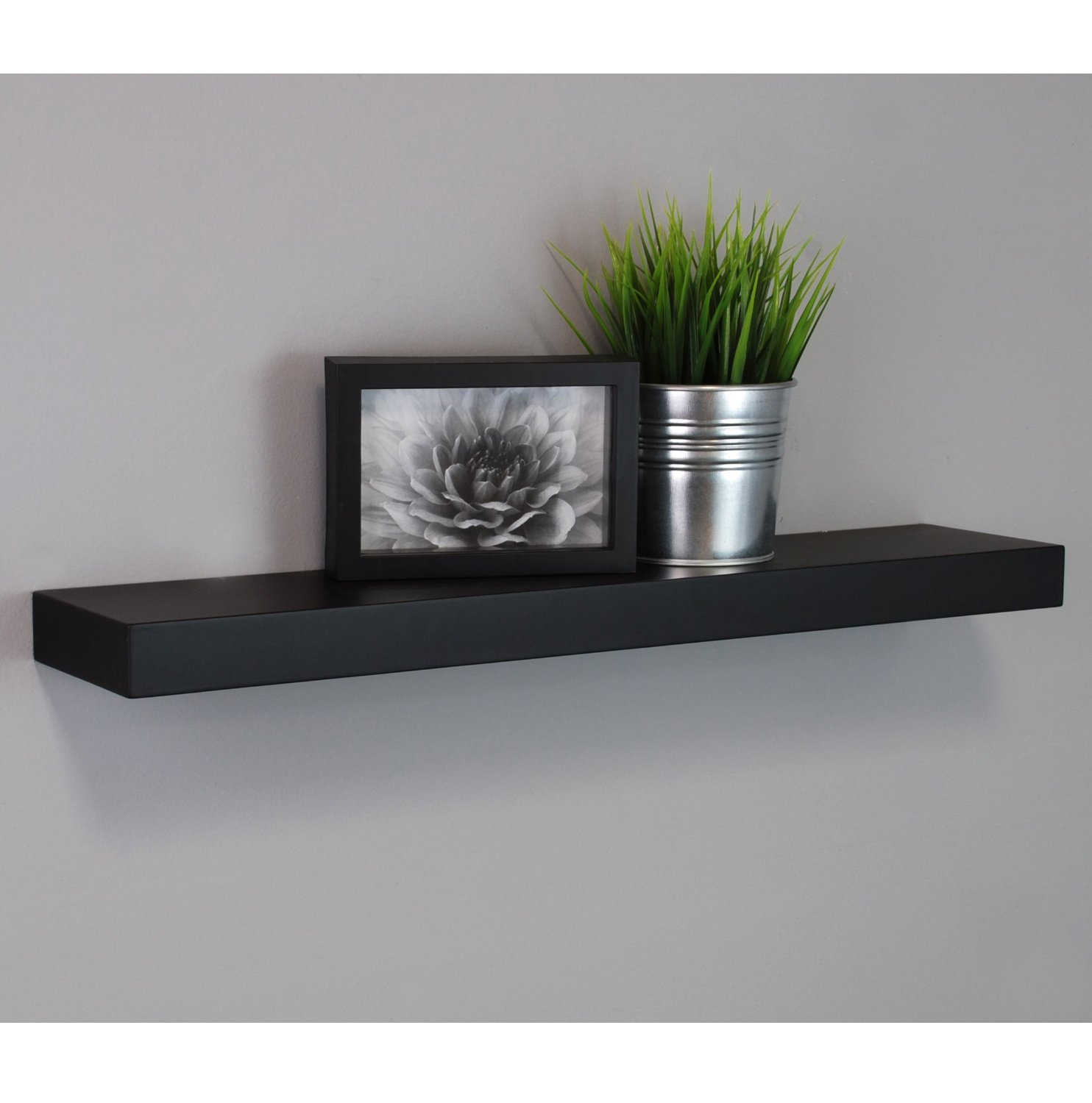 Kiera Grace Maine Wall Shelf/Floating Ledge, 24 Inch - Black