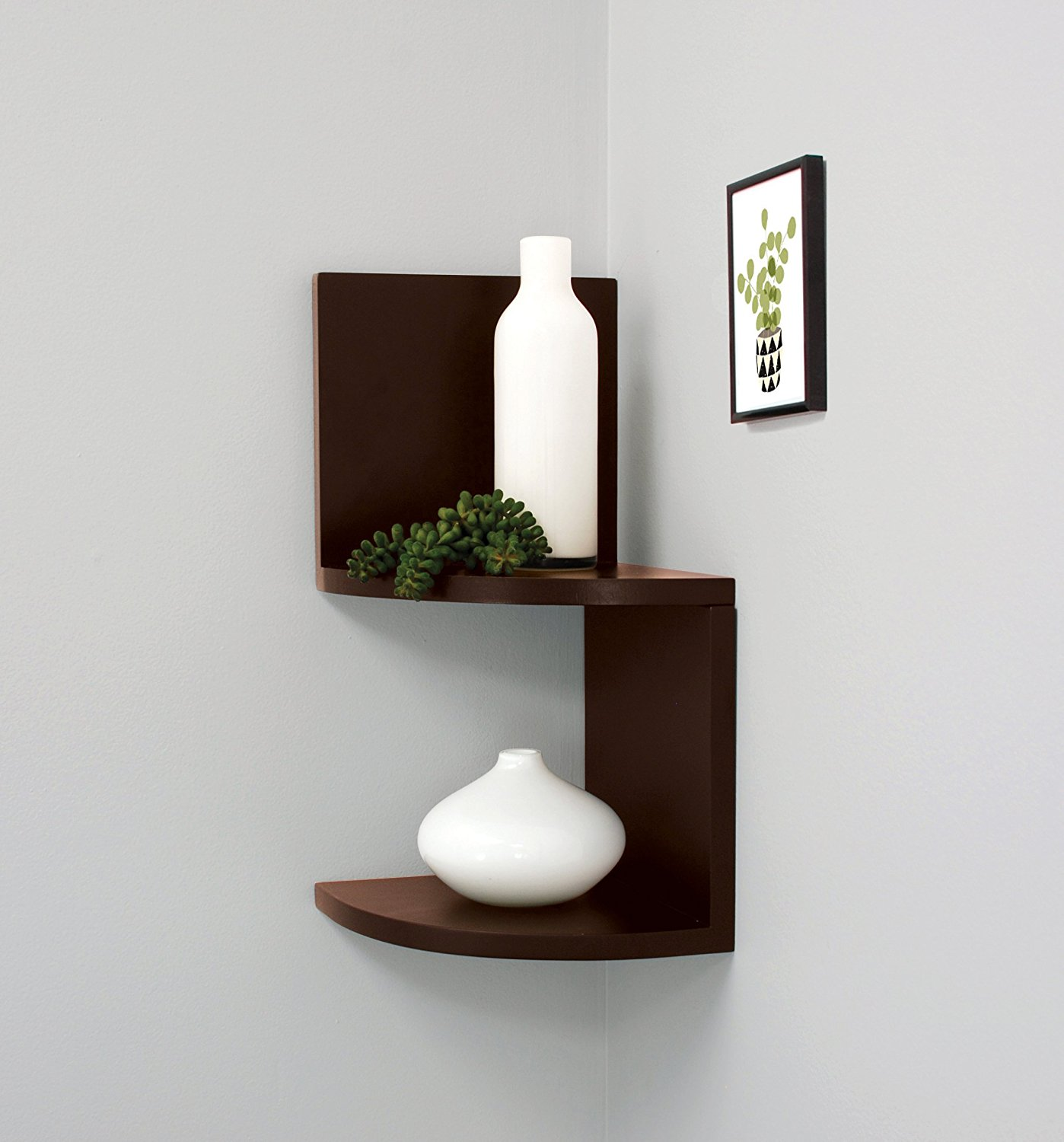 Kiera Grace Priva 2-Tier Corner Shelf, 7.75-Inch by 7.75-Inch Per Tier, Espresso