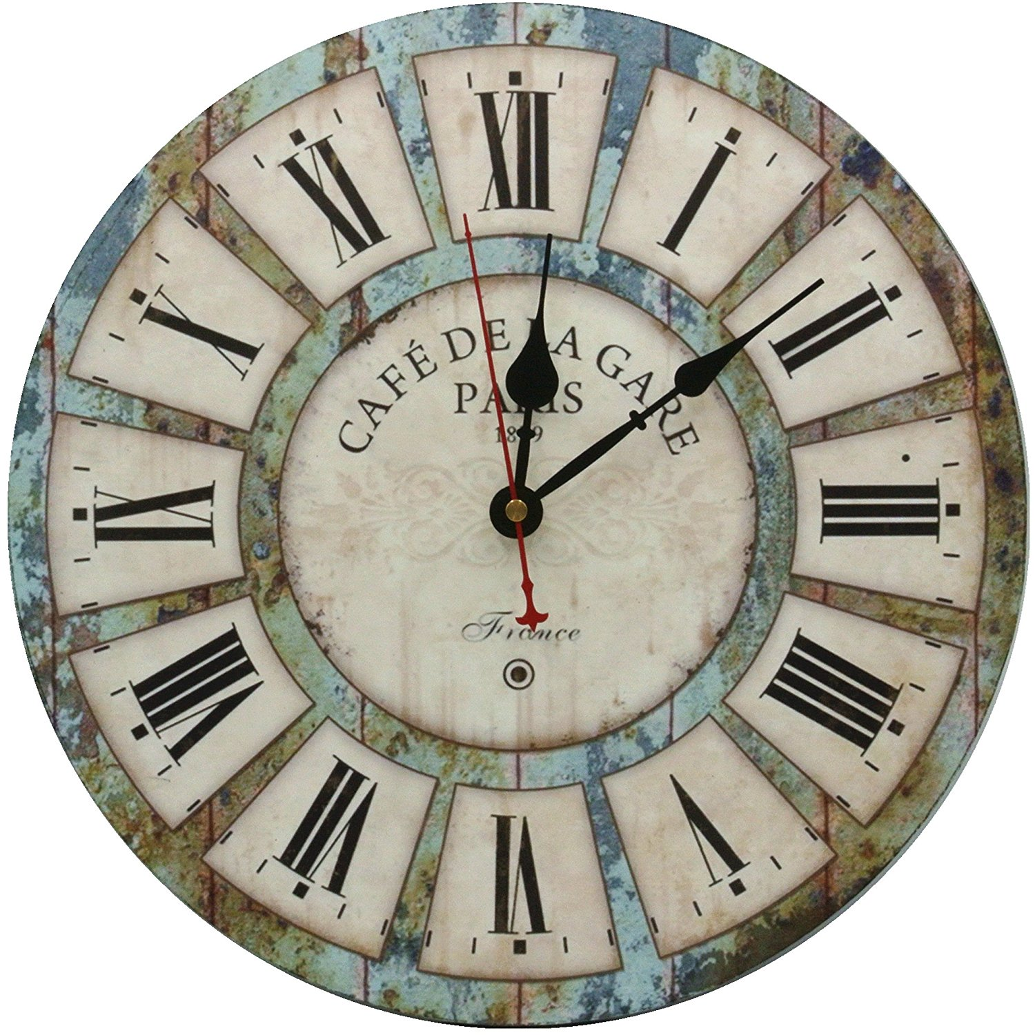 """Large Decorative Wall Clock,Silent Wall Clock Non Ticking for Living Room Kitchen Bathroom Bedroom Wood Round Vintage Decor 14"""" RELIAN"""