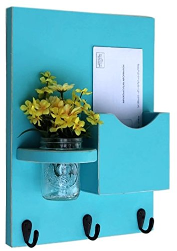 Legacy Studio Décor Mail Holder Key Hooks Mason Jar, Distressed Turquoise