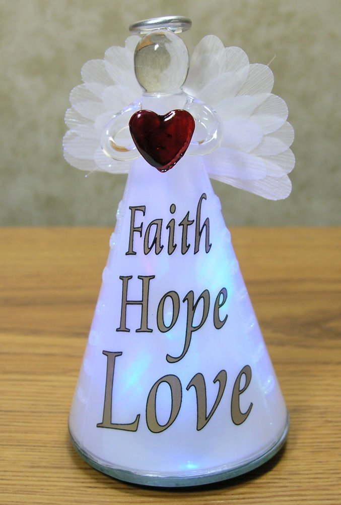 Lighted Angel Figurine FAITH HOPE LOVE - Frosted Glass LED Color Changing Praying Angel Statue Holding Red Heart