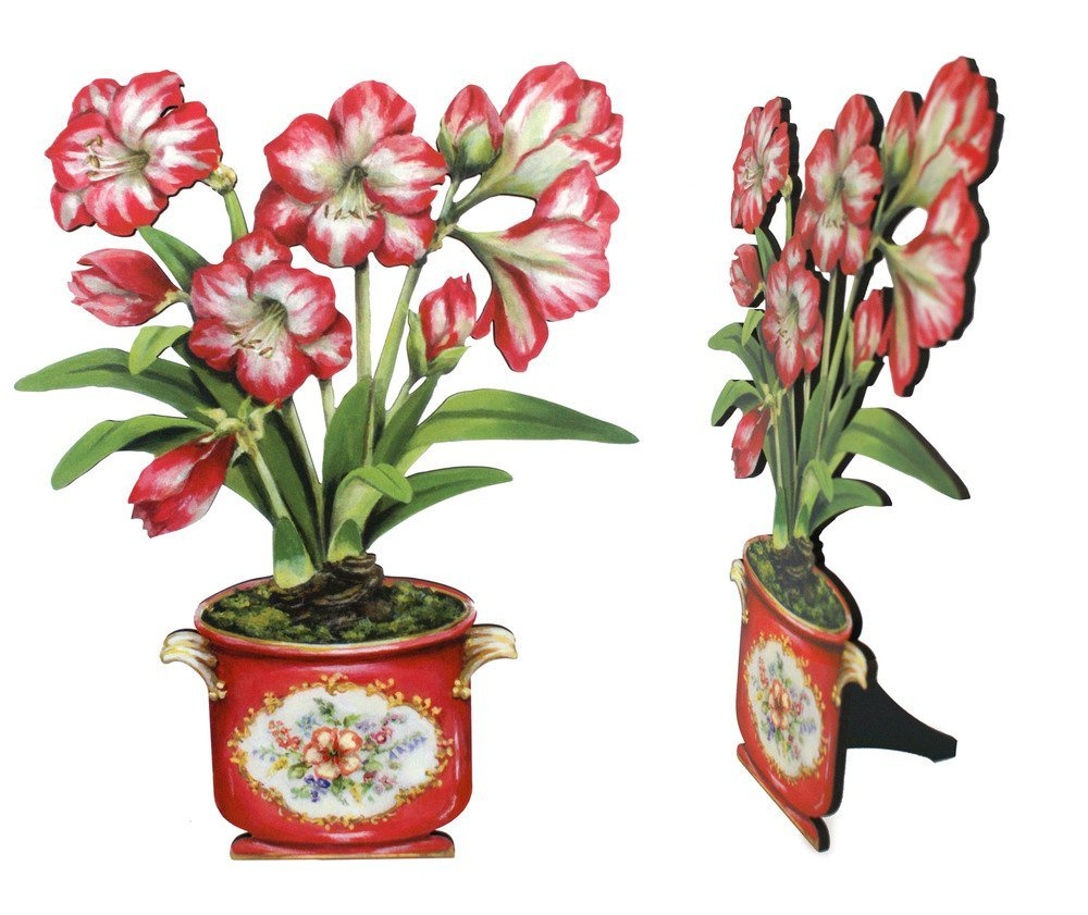 Mantel Decoration Fireplace Decor Hand Painted Decorative Free Standing Amaryllis Plant