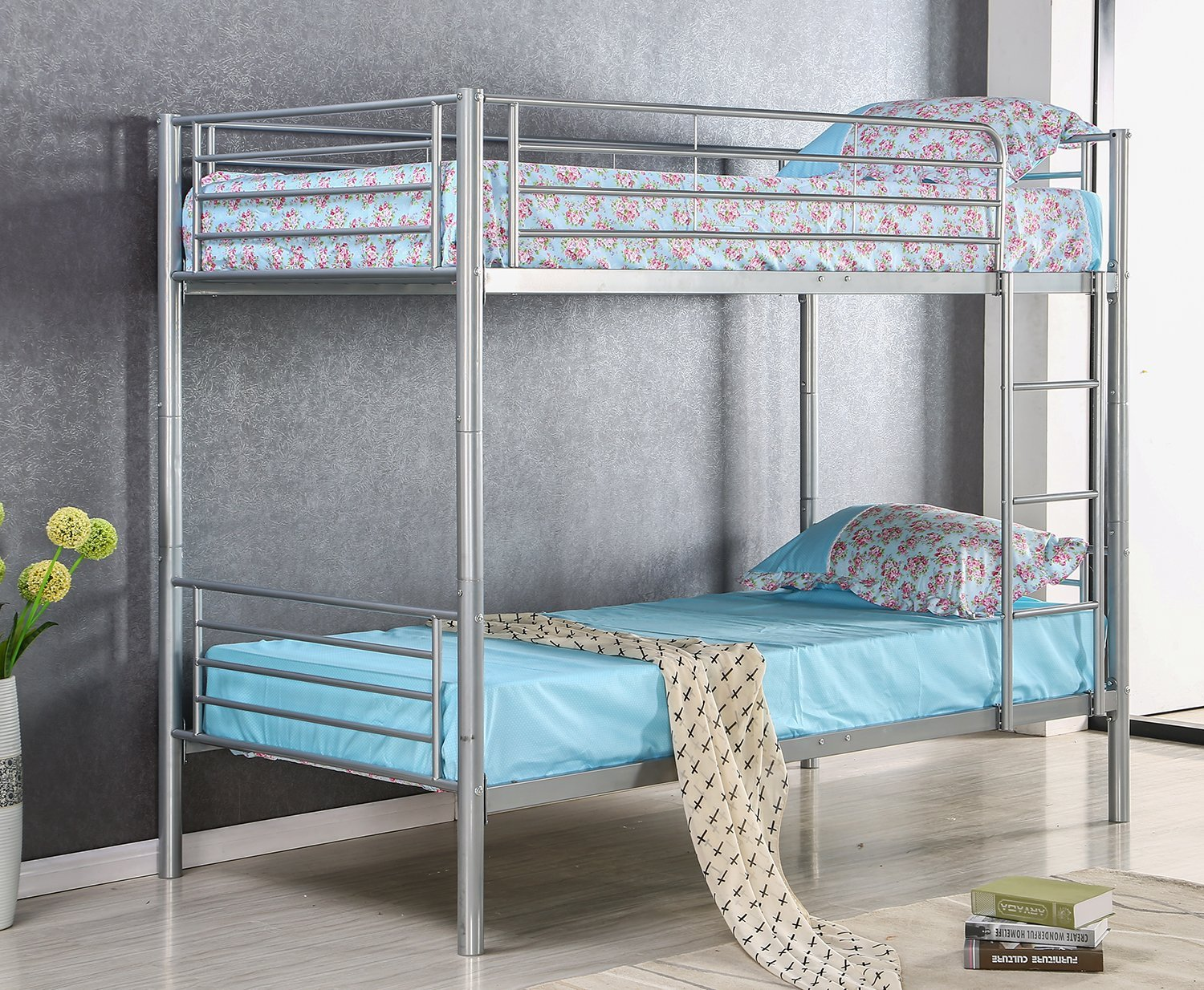 Merax-Solid-Metal-Twin-Over-Twin-Bunk-Bed-in-Slivery-Finish