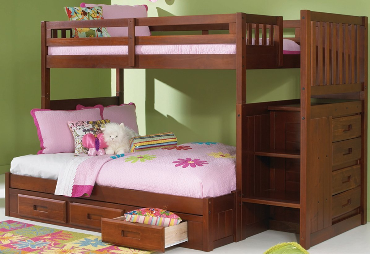 Merlot Twin Over Full Mission Staircase Bunk Bed with 3 Drawers
