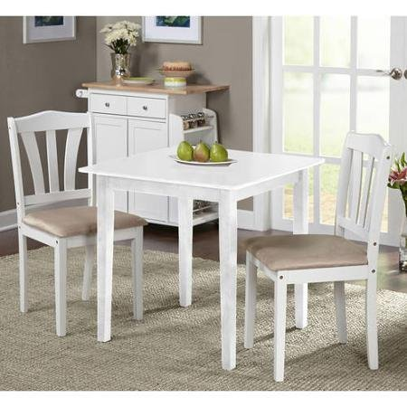 Metropolitan 3 Piece Dining Set,in White Finish, Set Includes (2)chairs and (1) Table , It Is Made of Quality Wood Materials ,This Petite Dinette Takes up Little Space, Making It Ideal for Cozy, Compact Spaces