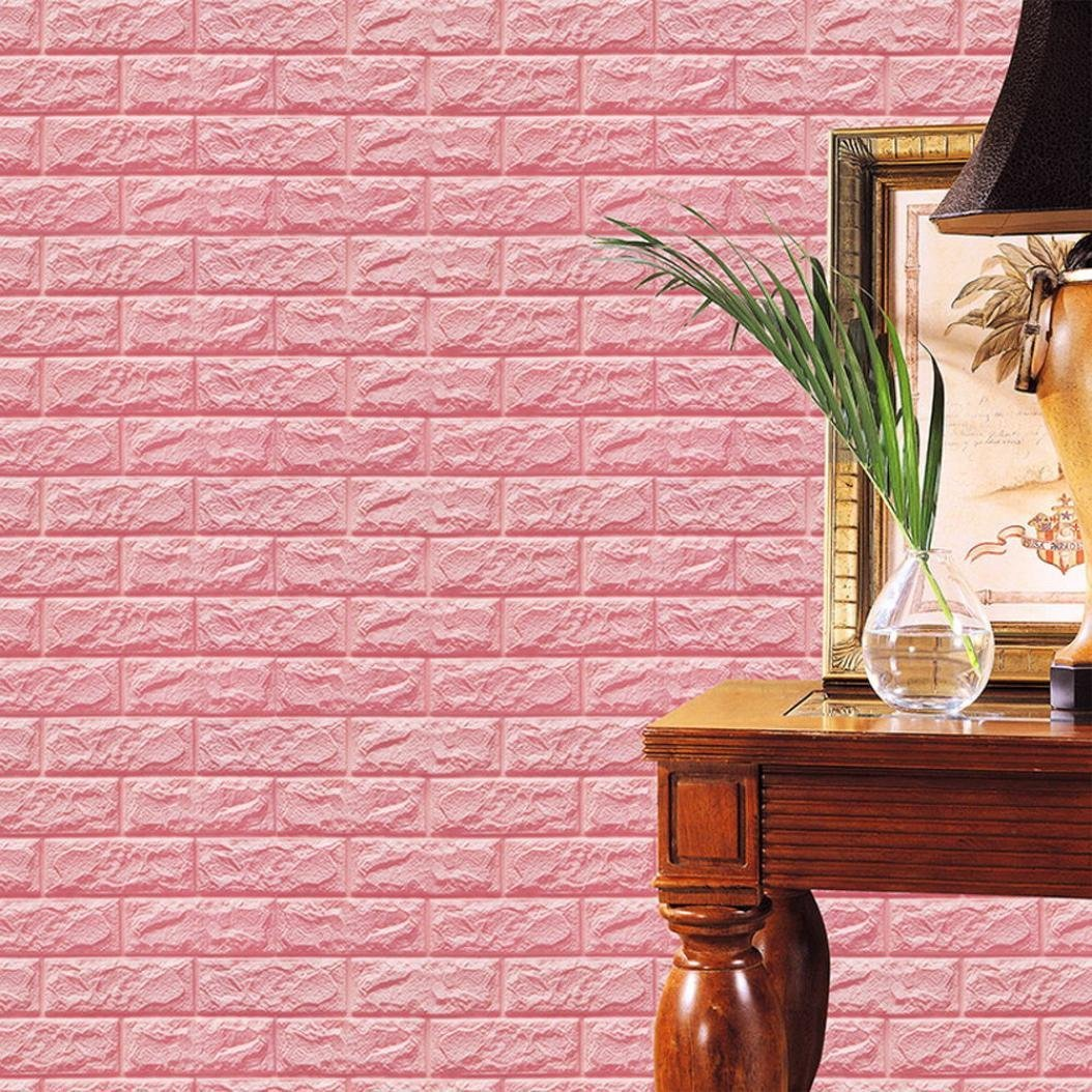 Mikey Store PE Foam 3D Wallpaper DIY Wall Stickers Wall Decor Embossed Brick Stone (Pink)