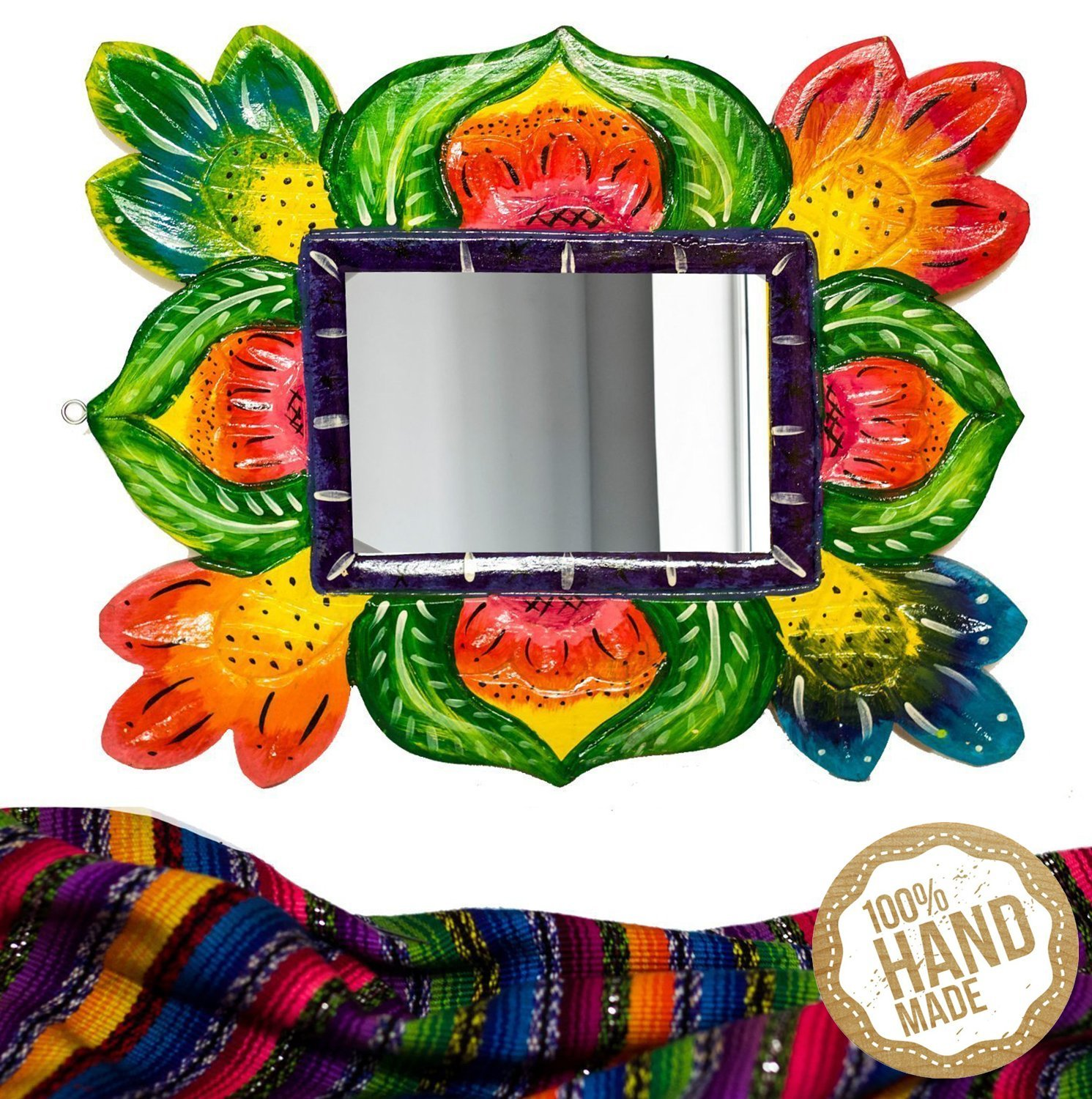 Mirror Wooden Wall Art Decor from Guatemala. Hand Carved & Made With 100% Real Wood. Perfect For Living Room & Bedroom Wall Hangings and Home Art Decorations!