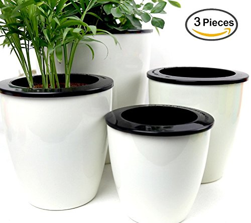 Mkono 3 Pack Self Watering Planter White Flower Pot, S