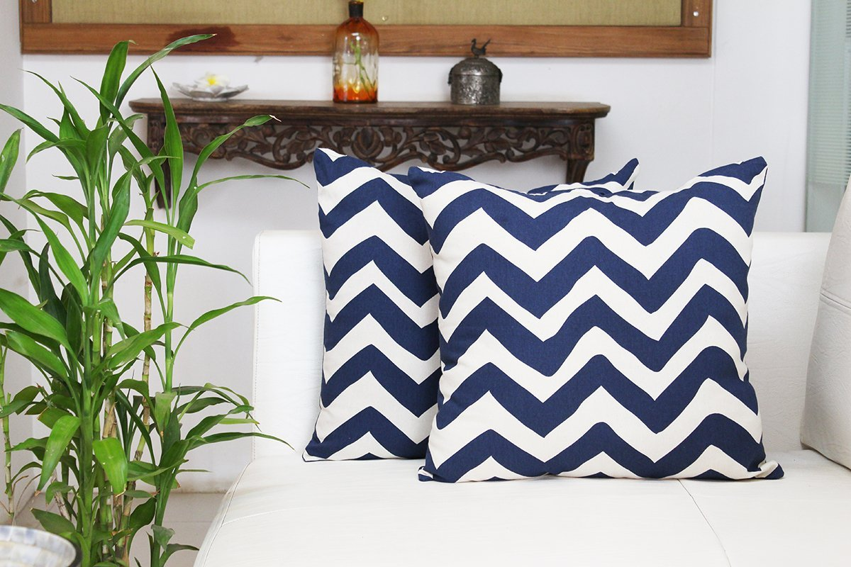 Mothers Day Gift Trendy Chevron Designed Throw Pillow Cushion Covers 18 x 18 Set of 2 for Sofa 100% Soft Cotton Home Bed Decorative
