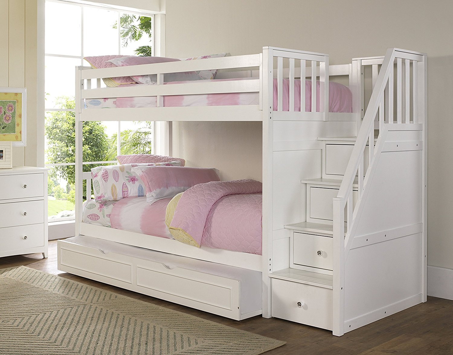 NE Kids Barrett Stair Bunk Bed with Trundle, White Finish