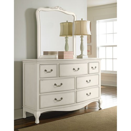 NE Kids Kensington 7 Drawer Dresser with Mirror in Antique White