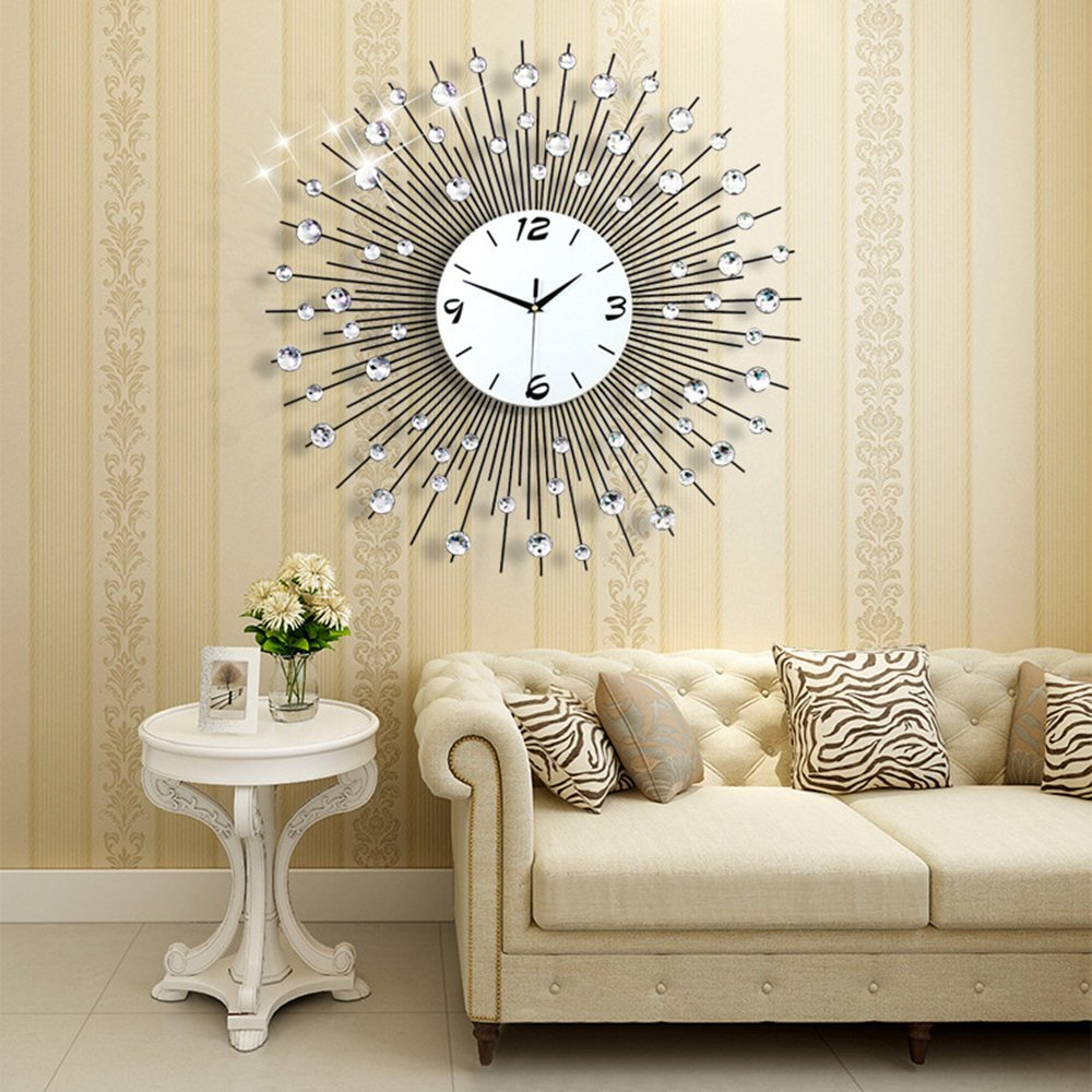 NEOTEND 3D Wall Clock 64pcs Diamonds Decorative Clock Diameter 25.6""