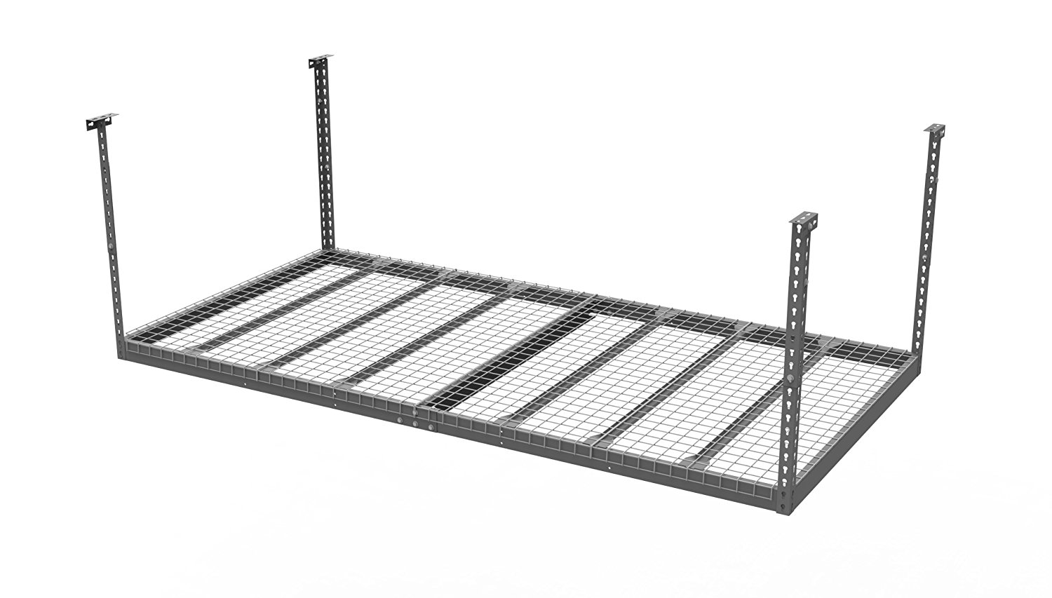 NewAge Products 40151 4-Feet by 8-Feet Ceiling Mount Garage Storage Rack, Gray